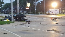 One vehicle is missing its entire back end following a double fatal collision at Highbury Avenue and Dundas Street in London, Ont, on Thursday September 8, 2016. (Justin Zadorsky / CTV London)