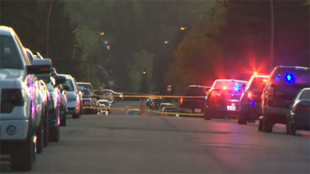 Police taped off the scene in the intersection of 79 Street and 47 Avenue N.W. following the crash.