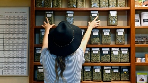An employee arranges glass display containers of marijuana on shelves at a retail and medical cannabis dispensary in Boulder, Colo., on Thursday, Aug. 11, 2016. (AP Photo/Brennan Linsley)