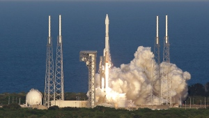 A United Launch Alliance Atlas V rocket carrying the Origins, Spectral Interpretation, Resource Identification, Security-Regolith Explorer (OSIRIS-REx) spacecraft lifts off from launch complex 41 at the Cape Canaveral Air Force Station, Thursday, Sept. 8, 2016, in Cape Canaveral, Fla. (AP / John Raoux)