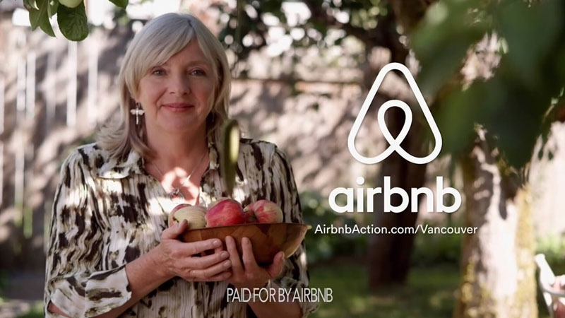 A still photo from an Airbnb ad is shown.
