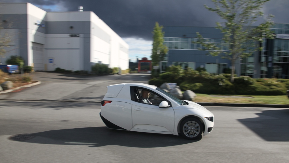 This undated photo provided by Electra Meccanica Vehicles Corp. shows the Solo, a one-seater made by the Vancouver, Canada-based company. (Electra Meccanica Vehicles Corp. / AP)