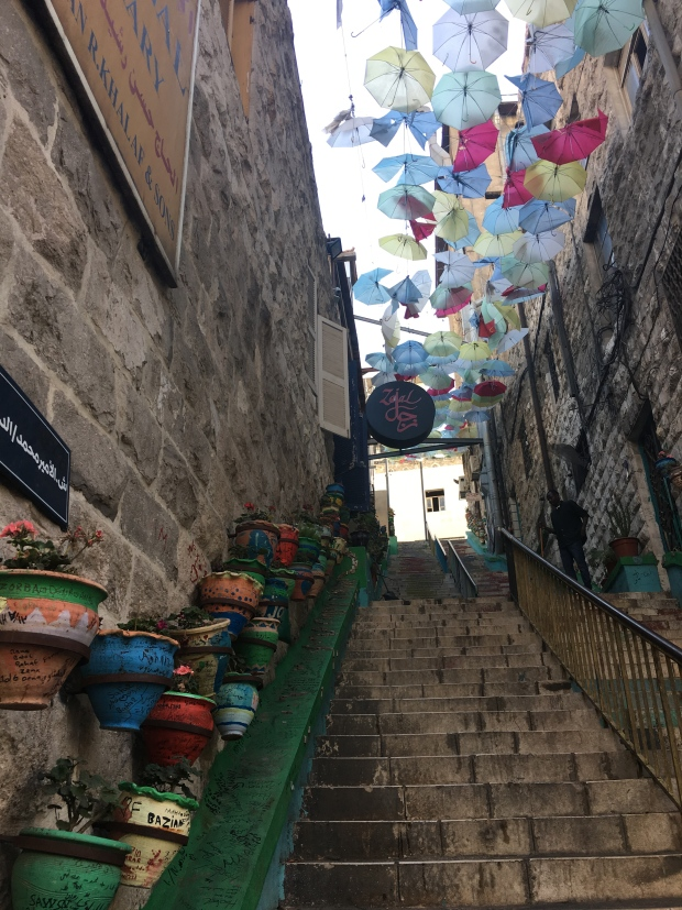 A colourful staircase in hilly Amman