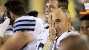 Toronto Argonauts quarterback Ricky Ray (15) on the bench late during the second-half of CFL football action in Hamilton, Ont., on Monday, Sept. 5, 2016. (THE CANADIAN PRESS/Peter Power)