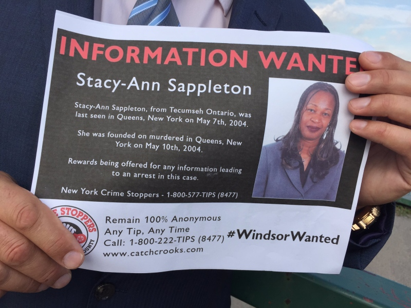 Police say Stacy-Ann Sappleton of Tecumseh was murdered in New York City 12 years ago. (Sacha Long / CTV Windsor)