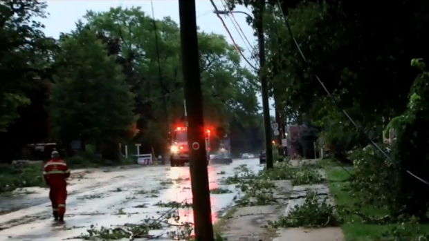 Debris and hydro lines down in Bloomfield in Prince Edward County, Ont. (CTV Toronto)