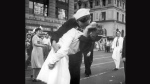 In this Aug. 14, 1945 file photo provided by the U.S. Navy, a sailor and a nurse kiss passionately in Manhattan's Times Square, as New York City celebrates the end of World War II. Greta Zimmer Friedman has said she was the woman who was kissed by the ecstatic sailor.  (AP /U.S. Navy/Victor Jorgensen)