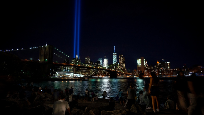 The Tribute in Light, viewed from the Brooklyn borough of New York, rises above the lower Manhattan skyline, Sunday, Sept. 11, 2016, in New York, the fifteenth anniversary of the terrorist attacks of Sept. 11, 2001 on the United States. (AP / Craig Ruttle)