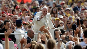Pope Francis arrives in St. Peter's Square to attend a Jubilee audience at the Vatican, on Sept. 10, 2016. (Gregorio Borgia / AP)