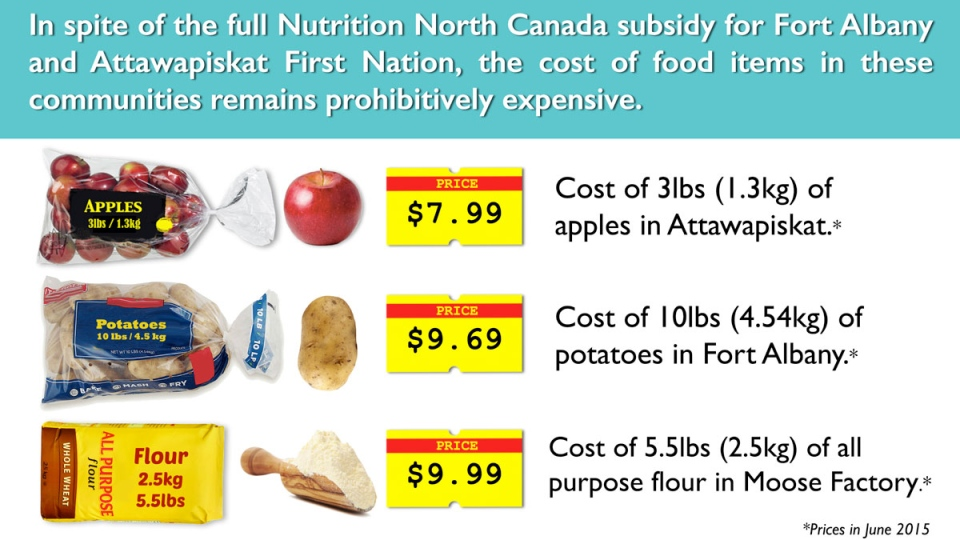 A report from Food Secure Canada looked at the cost of certain food items in three northern Ontario reserves -- Moose Factory, Fort Albany and Attawapiskat.