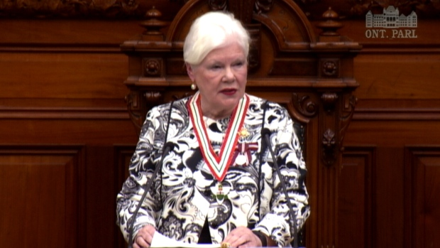 Lt.-Gov. Elizabeth Dowdeswell reads the throne speech at the Ontario Legislature in Toronto, Monday, Sept. 12, 2016.