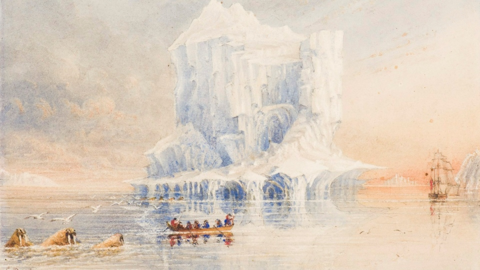A rare watercolour of the HMS Terror exploring the Canadian Arctic. (Canadian Museum of Civilization / THE CANADIAN PRESS)