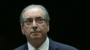 Brazil's former President of the Chamber of Deputies Eduardo Cunha takes a break during the presentation of his defence in the Chamber of Deputies, in Brasilia, Brazil on Monday, Sept. 12, 2016. (AP / Eraldo Peres)