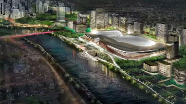 Artist rendering of proposed CalgaryNEXT arena and fieldhouse in the West Village near the banks of the Bow River