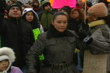 Lilian, Fredy Villanauva's mother, led a group of protesters through the streets of Montreal North on Saturday, Feb. 7.