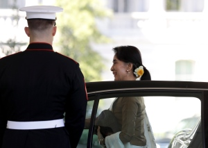 Myanmar's leader Aung San Suu Kyi steps from her vehicle as she arrives at the West Wing of the White House in Washington, Wednesday, Sept. 14, 2016, for a meeting with President Barack Obama in the Oval Office. (AP / Carolyn Kaster)