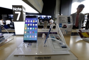 In this Sept. 8, 2016 file photo, a Samsung Electronics' Galaxy Note 7 smartphone is displayed at the headquarters of South Korean mobile carrier KT in Seoul, South Korea. (AP / Ahn Young-joon)