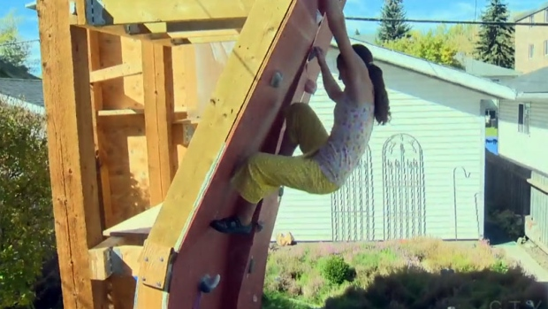 Calgary family 39 s backyard climbing wall causes insurance for Landscaping rocks windsor ontario