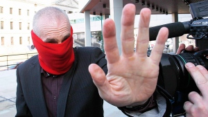 Graham James arrives at court in Winnipeg on March 20, 2012. (John Woods / THE CANADIAN PRESS)