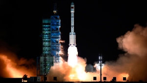 The Long March 7 rocket carrying the Tiangong-2 module blasts off from the Jiuquan Satellite Launch Center in Jiuquan, China, on Sept. 15, 2016. (Chinatopix via AP)
