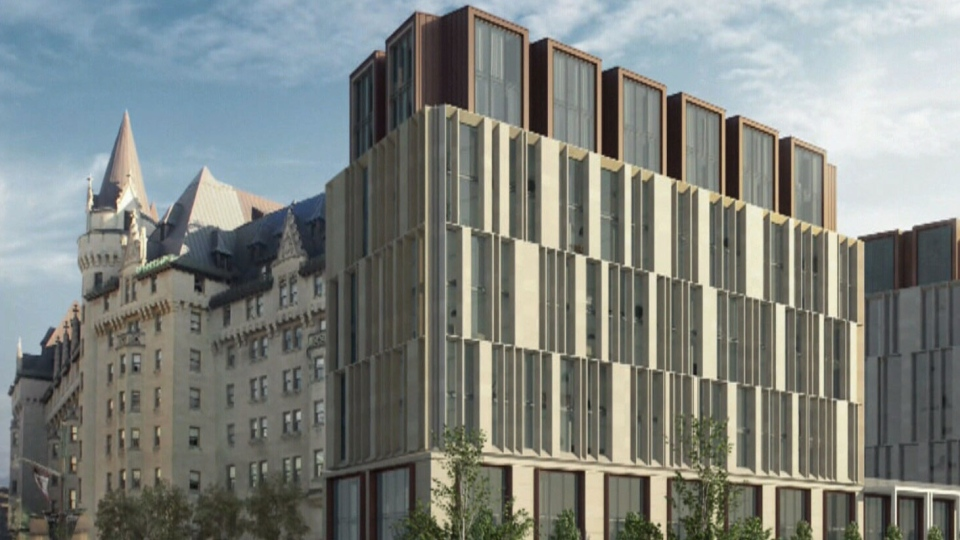 A rendering of the original 2016 proposed Chateau Laurier addition.