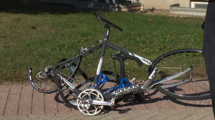 Bicycle mangled in hit and run crash on Monday, September 12, 2016