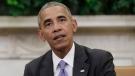 President Barack Obama talks to media at the start