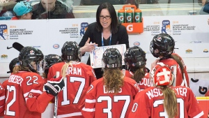 Team Canada coach Laura Schuler in Kamloops, B.C., on March 31, 2016. (Ryan Remiorz/The Canadian Press)