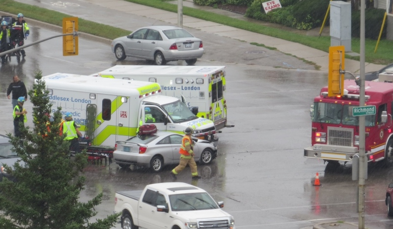 An ambulance and a car collide at Fanshawe Park Road and Richmond Street on Saturday, September 17th, 2016. Photo courtesy: Carol Goodine