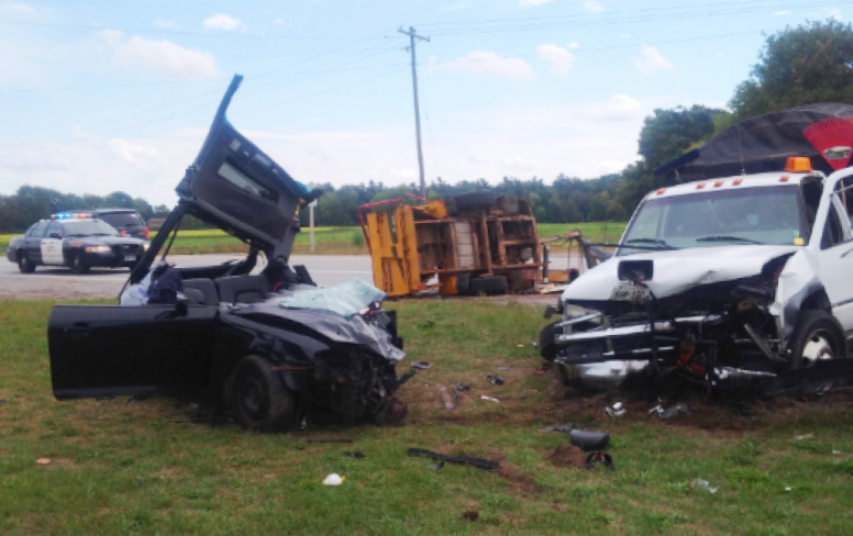 Two people injured in a Norfolk County crash involving three vehicles on Sunday, September 18th, 2016. (photo courtesy: Norfolk County OPP)