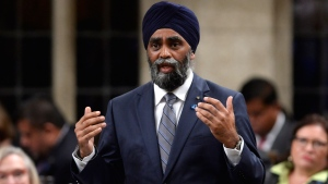 Defence Minister Harjit Sajjan answers a question during Question Period in the House of Commons in Ottawa on Monday, September 19, 2016. THE CANADIAN PRESS/Adrian Wyld
