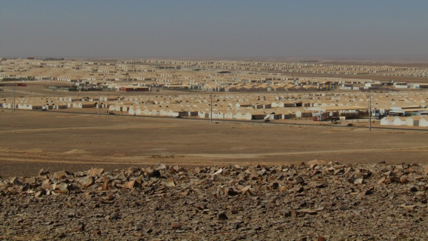 Rows of tents at the camp in Azraq.