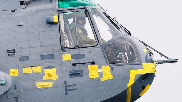 Prince William at the controls of a helicopter