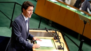 Prime Minister Justin Trudeau speaks during the 71st session of the United Nations General Assembly at UN headquarters, Tuesday, Sept. 20, 2016. (AP / Seth Wenig)