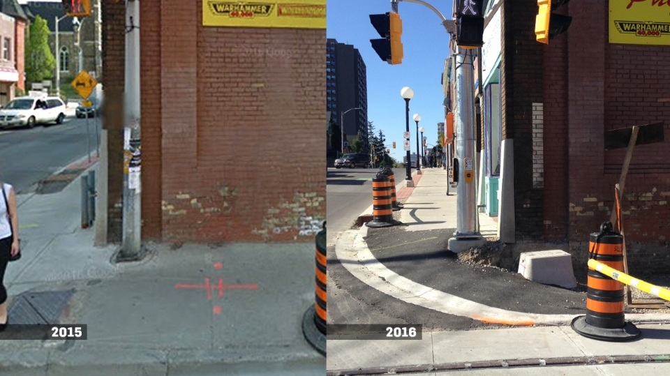 A sidewalk at Charles and Queen streets in downtown Kitchener, as seen in 2015 via Google Street View and as seen following construction in September 2016.