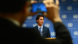 Prime Minister Justin Trudeau holds a press conference at the 71st Session of the UN General Assembly at the United Nations headquarters in New York on Tuesday, Sept. 20, 2016. THE CANADIAN PRESS/Sean Kilpatrick