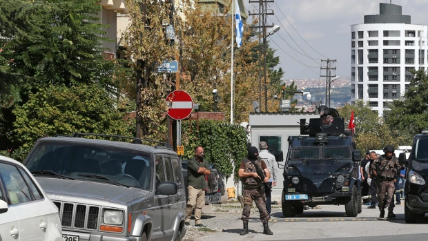 Outside the Israeli Embassy in Ankara, Turkey