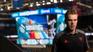 Team North America forward Connor McDavid, of the Edmonton Oilers, attends a media availability for the World Cup of Hockey in Toronto, on Thursday, September 15, 2016. (Chris Young/The Canadian Press)