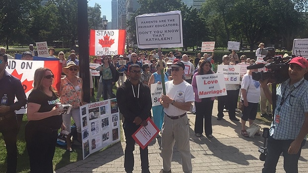 Hundred staged a protest against the Liberal sexual education curriculum outside Queen's Park on Sept. 21, 2016. (Ken Enlow)