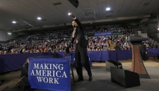 U.S. President Barack Obama holds a town hall style meeting about the economic stimulus package at Concord Community High School in Elkhart, Ind., Monday, Feb. 9, 2009. (AP / Charles Dharapak)