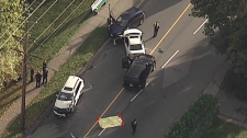 There was a frantic scene in New Westminster as police arrested three suspects in connection with a kidnapping and murder investigation. Sept. 19, 2016. (CTV/Chopper 9)