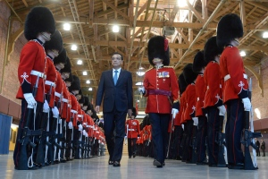 Premier of the State Council of the People's Republic of China, Li Keqiang attends a welcoming ceremony with military honours in Ottawa on Thursday, Sept. 22, 2016. (CANADIAN PRESS / Adrian Wyld)