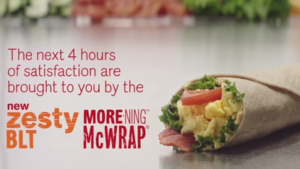 The new Zesty BLT McWrap shown in McDonald's four-hour promotion video on Youtube.