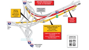Weekend closures of Route 136 begin Dec. 3