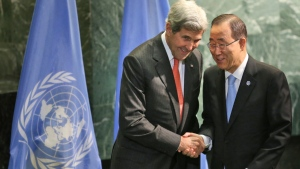 United States Secretary of State John Kerry, left, shakes hands with United Nations Secretary-General Ban Ki-moon during a ceremony to mark more signatories to the Paris climate accords at U.N. headquarters, Wednesday, Sept. 21, 2016. (Seth Wenig/THE ASSOCIATED PRESS)