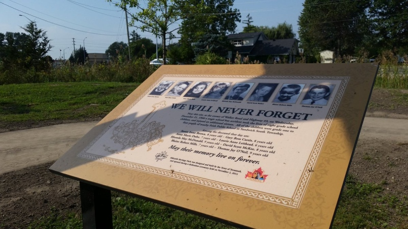 Victims of a fatal 1966 school bus crash are remembered in Oldcastle, Ont., on Friday, Sept. 23, 2016. (Angelo Aversa / CTV Windsor)
