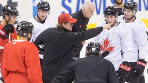 Team Canada's head coach Mike Babcock holds a huddle with players during practice at the World Cup of Hockey in Toronto on Friday, September 23, 2016. Hosting Russia in Saturday's semifinal of the World Cup of Hockey, Canada is now something of a powerhouse. They've won 13 straight best-on-best games dating back to 2010, rolling through the preliminary round here in Toronto with next to no real tension. (Chris Young/THE CANADIAN PRESS)