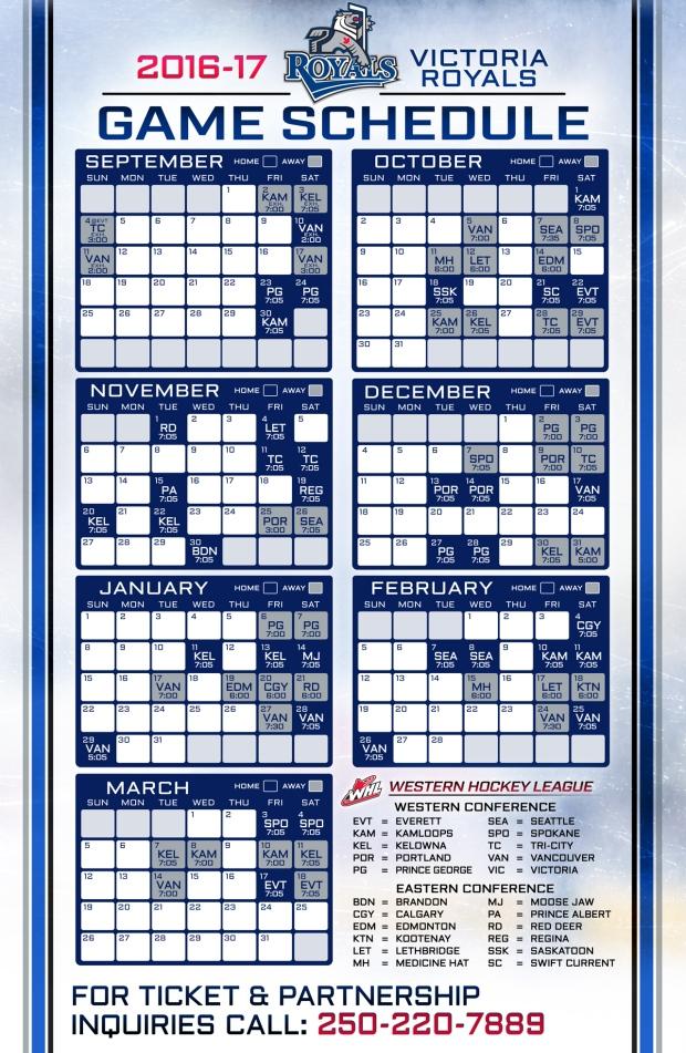 royals schedule 2016-2017