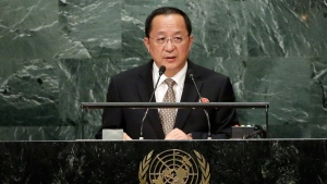 North Korea's Foreign Minister Ri Yong Ho addresses the 71st session of the United Nations General Assembly, at UN headquarters, Friday, Sept. 23, 2016. (AP Photo / Richard Drew)