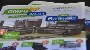 "Canada's largest rent-to-own company included what customers are calling an ""offensive"" acronym in their latest flyer. (CTV Edmonton)"